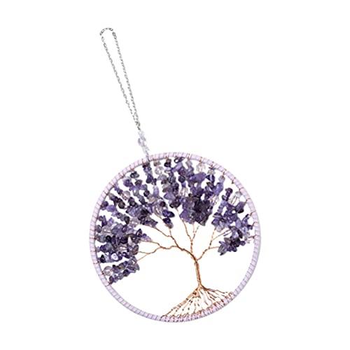 FOMIYES Collar de árbol de la vida, collar de piedra de cristal púrpura, joyería de piedras preciosas para las mujeres, colgante de árbol de la vida