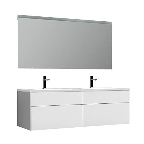 STONEART Venice VE-1600-II - Juego de muebles de baño (160 x 52 cm), color blanco