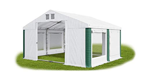 Das Company Party Tent 4 x 4 m Storage Tent Universal Tent Mosquito Net Waterproof White/Green with Base Frame and Roof Reinforcement 560 g/m² PVC Tarpaulin Robust Marquee Garden Tent Summer Plus ISDM