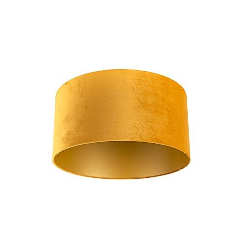 QAZQA Velours lampenkap geel 50/50/25 met gouden binnenkant, Rond recht hang kap,staande kap