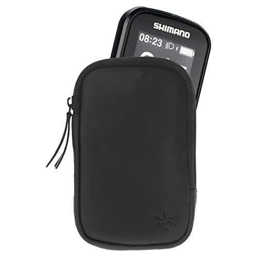 honju Bike Ledertasche für Shimano SC-E6100 E-Bike Bildschirm (Bildschirmschutz, Schutz vor Kratzer und Dreck) - schwarz, Passexakt, 62004