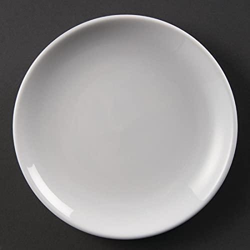 Olympia Whiteware Assiettes Coupe Rondes en Porcelaine Blanche 180mm - Empilable et Résistant au Lave Vaisselle - Paquet de 12