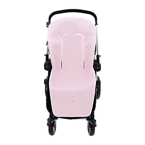 Rosy Fuentes - Colchoneta o Funda de Silla de Paseo Universal - Color Rosa - Medidas 58 x 50 x 2 cm - Fabricado en Piqué - Funda Carrito Bebé - Protección y Estilo - Hecho en España