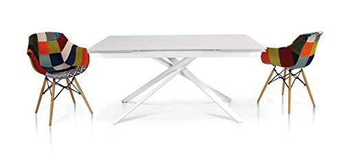 Milani Home s.r.l.s. Tavolo da Pranzo Moderno allungabile con Piano in Vetro Stile Contemporaneo Bianco Gambe Incrociate, cm 90 x 160/200/240 x 75 h