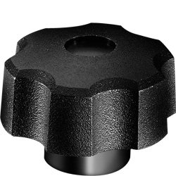 DimcoGray Black Thermoplastic Fluted Torque Knob Female, Thru Hole Brass Insert: 1/4-20