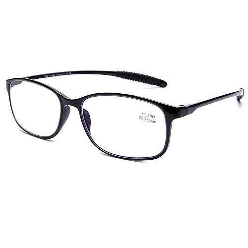 DOOViC Blaulichtfilter Computer Lesebrille Schwarz/Eckig Flexibel Anti Rutsch Brille mit Stärke für Damen/Herren 2,0