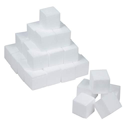 Craft - Bloques de espuma de poliestireno de 36 piezas para manualidades y modelado, 5 x 5 x 5 pulgadas de espuma en blanco