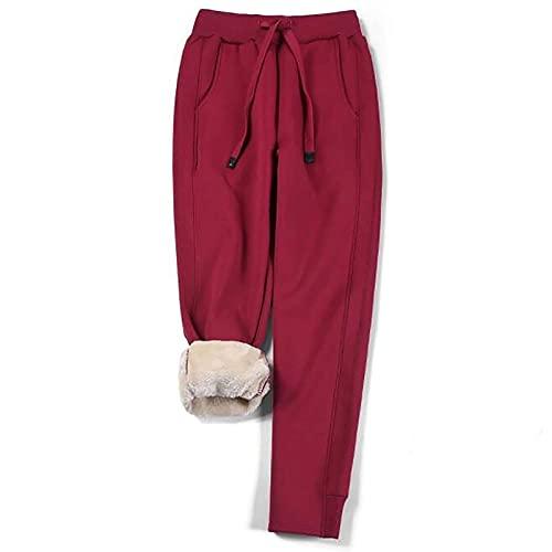 Pantalones Cálidos para Mujeres, Pantalones Deportivos De Felpa para Mujeres, Pantalones Deportivos Informales Cálidos para Mujeres,Wine Red,4XL