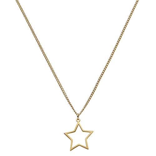 Draeger Paris – Collar de fantasía de metal dorado, diseño de estrella calada – sin níquel – 45 cm – Ideal para un regalo personalizado y diseño
