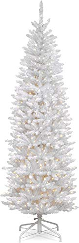 National Tree Company Pre-lit Artificial Christmas Foot Kingswood Fir White Pencil Tree, 7 ft