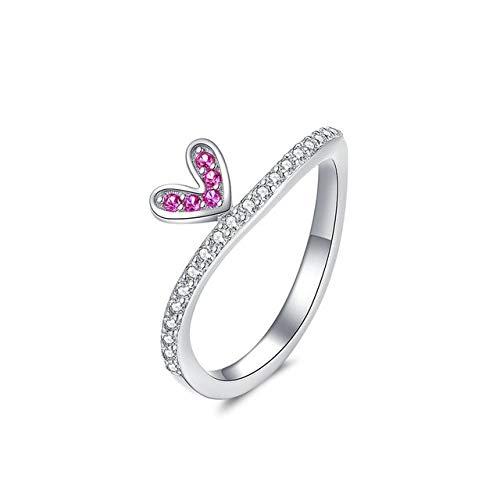 GMZWW Comic Herz Fingerringe für Frauen 2 Farbe Authentic Sterling Silber 925 Ring Band Größe 6 7 8 Modeschmuck 8 BSR044