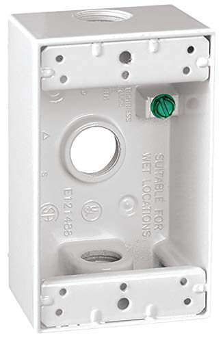 Sigma Electric, White 14250WH 1/2-Inch 3 Hole 1-Gang Box