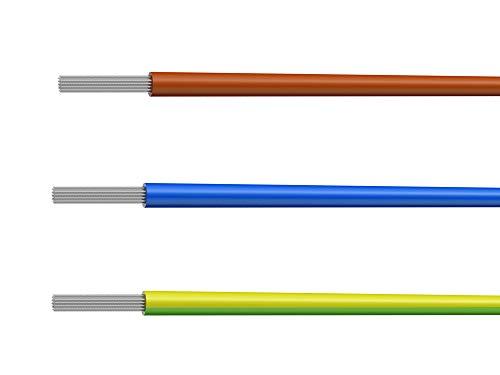 NorthPada 16 AWG 1,0mm² Elektronik Elektrischer Draht Kit Litzen Silikon Leitungen Draht Verzinntes Kupfer Kabel 3 Farbe(Braun+Blau+Gelb&Grün) 600V 12A 3 x 3meter