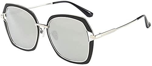 Gafas de sol UV400 polarizadas gafas de sol de cara redonda mujeres gafas de sol cara grande elegante, Silver,