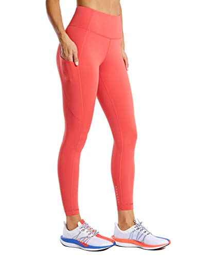 CRZ YOGA Mujer Naked Feeling Leggings Deportivas Cintura Alta Yoga Fitness Pantalones con Bolsillo-63cm Ladrillo Rosa 44