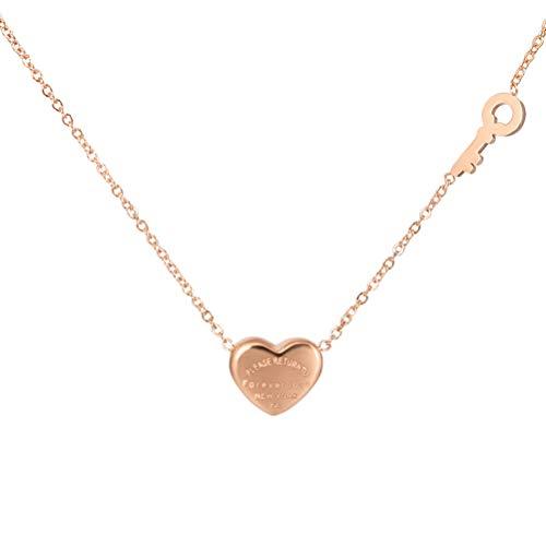 Forever liefde hanger hart zilveren ketting sieraden sleutel halsketting verguld sieraden dames ketting liefde hart halsketting 40 + 5 cm, nikkelvrij bestendig SGS test B