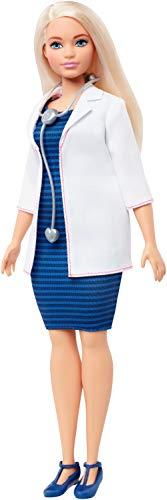 Barbie- Carriere Bambola con Stetoscopio e Capelli Biondi, Giocattolo per Bambini 3+ Anni, FXP00