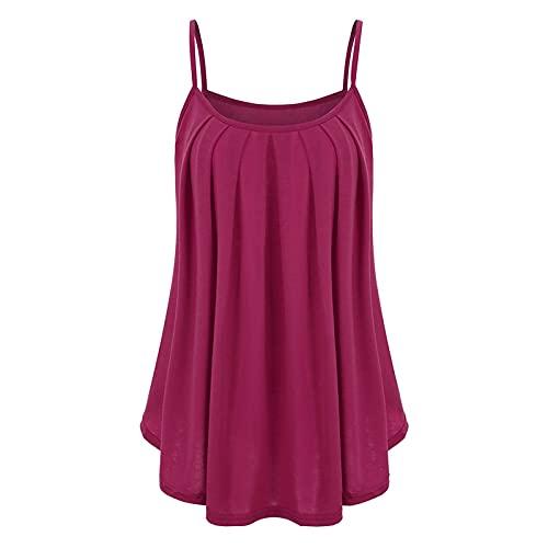 XOXSION Camiseta de verano para mujer, tallas grandes, color sólido, sin mangas, dobladillo con volantes, blusa holgada B Pink XXXL