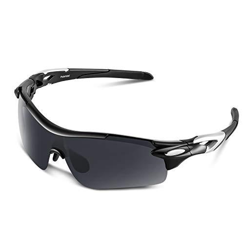 Bea Cool Gafas De Sol Polarizadas Deportivas Para Hombres, Mujeres, Jóvenes, Béisbol, Ciclismo, Correr, Conducir, Pescar, Golf, Motocicleta, TAC, Gafas (Negro Mate, Gris)