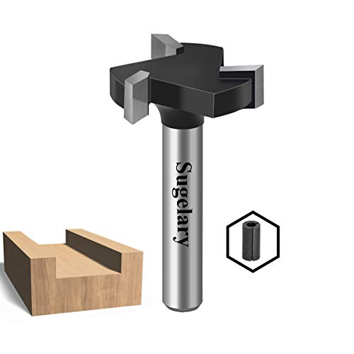 CNC Spoilboard Surfacing Router Bit, Carbide Tipped Surface Planing Bottom Cleaning Cutter Slab Flattening Router Bit, Wood Milling Cutter Planer Woodworking Tool (1/4 inch shank)
