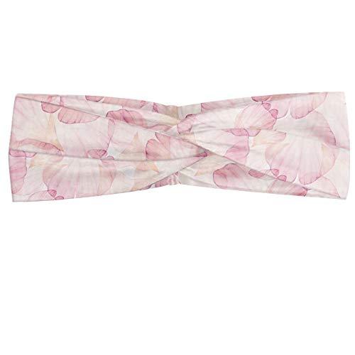 ABAKUHAUS Pastel Bandeau, Soft Pink Flower Petals Aquarelle Rose Style Fleur romantique douce, Serre-tête Féminin Élastique et Doux pour Sport et pour