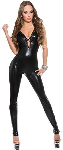 Firstclass Trendstore ärmelloser Wetlook-Catsuit Gr. 34 36 38, Overall Jumpsuit Damen (OV18377 schwarz 900875)