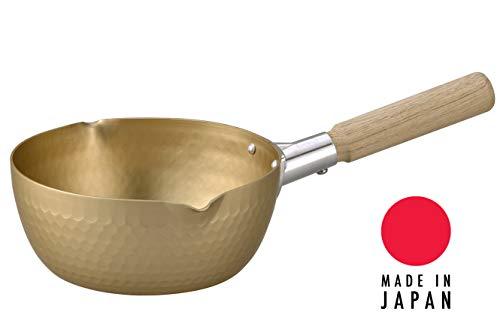 Hinomaru Collection Yukihira Nabe Leichter Topf aus gehämmertem Aluminium mit Holzgriff, Goldene Antihaftbeschichtung, hergestellt in Japan