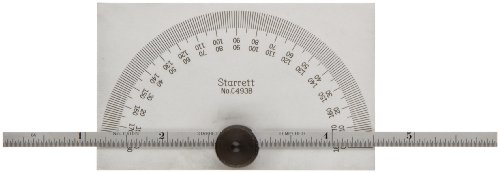 Starrett C493B Protractor And Depth Gauge, 0-180 Range, 6