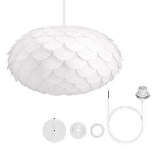 kwmobile Lampadario DIY puzzle fiore a squame - Paralume per lampada a sospensione - con set fissaggio al soffitto portalampada E27 cavo 80cm - bianco