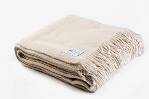 Manta 160 x 200 de 100% Pura Lana Merina 160/200cm Cálido y Natural Muy Suave y Confortable. Manta Picnic