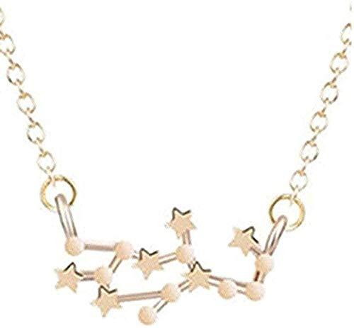 LKLFC Collar Mujer Collar Hombre Collar Astrología Zodíaco Colgante Collar Mujer Constelación Horóscopo Virgo Leo Cadena Collar Regalo de cumpleaños para niñas Collar para niñas y niños
