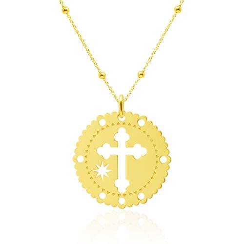 WANDA PLATA Collar Colgante Medalla Cruz para Mujer Plata de Ley 925 con Baño de Oro. Cadena 45 cm en Caja de Regalo