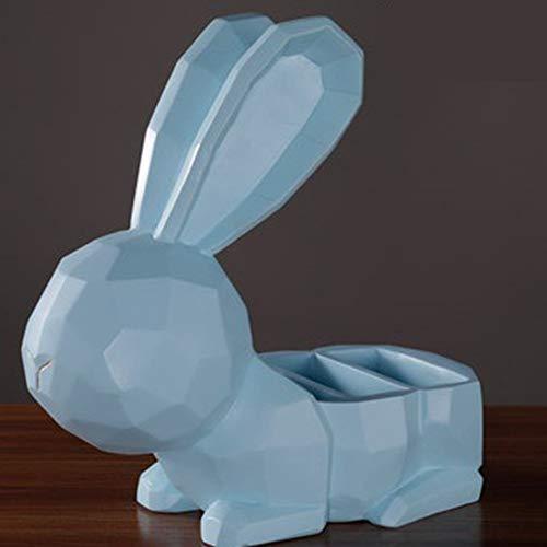 Statue Statuette Sculture Figurine,Blue Cute Rabbit Design Storage Box Statuette Animali Statue Creative Moderne Opere d'Arte Decorazioni Natalizie per Gli Ornamenti Dell'Orto del Soggiorno di Casa