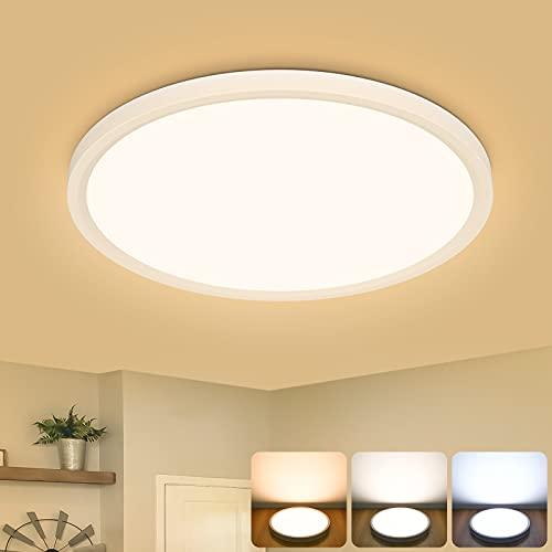 Hidixon 15W LED Deckenleuchte, Φ30 * H2.4cm 2100LM LED Deckenlampe Runde, 3000k/4000k/6500k 3 Farbtemperatur LED Flache Lampen Deckenlampen für Badezimmer Schlafzimmer Flur Küche Balkon Esszimmer