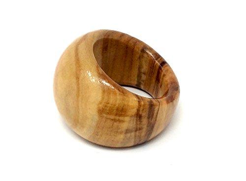 bagusto Anillo de dedo de madera de olivo - hecho a mano en Mallorca 17 mm de diámetro interior