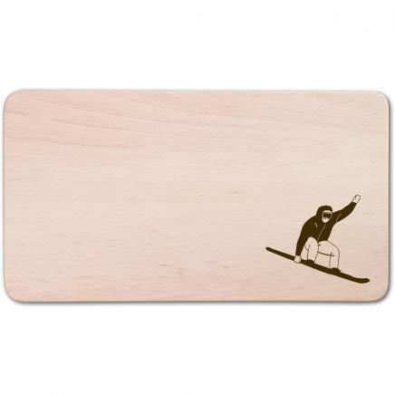 HOFMEISTER® Frühstücksbrettchen aus Holz, 22 cm, Brotzeitbrettchen mit Motiv Snowboard Frühstücksbrettchen aus Buche, rechteckig, glatt, mit abgerundeten Ecken