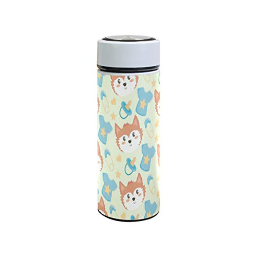 Best Prices! Cute Baby Fox Head Short Pacifier Stainless Steel Water Bottle Wide Mouth Vacuum Insula...