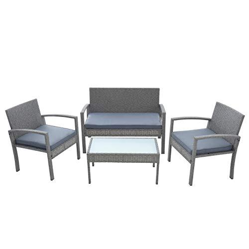 ESTEXO Polyrattan Sitzgruppe Gartenmöbel-Set Gartenset Gartenlounge Lounge-Set Rattan Balkon-Set Essgruppe (Grau-Mix)