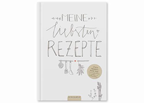 Großes XXL Rezeptbuch in A4 zum Selberschreiben - Meine liebsten Rezepte - DIY Kochbuch, Backbuch schreiben, Design in Weiß, Recyclingpapier, Premium Hardcover, robuste Bindung, 21.5 x 30.2 x 1.5 cm