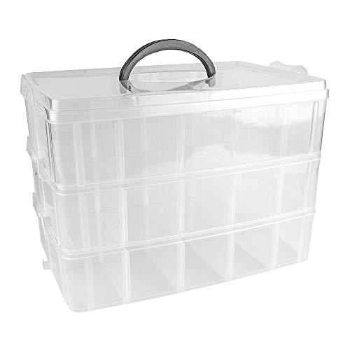 Ideen mit Herz Aufbewahrungsbox mit Deckel & Tragegriff | 30 Fächer | transparent | 26 x 18,5 x 17 cm | 3 Ebenen mit je 10 Fächern | Sortierbox für Kleinteile, Perlen, Schmuck, Schrauben