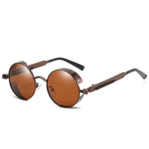 DAIDAICDK Gafas de Sol de luz polarizadas Hombres Mujeres Gafas de Sol Redondas de Metal Gafas UV400 Gradient Eyewear