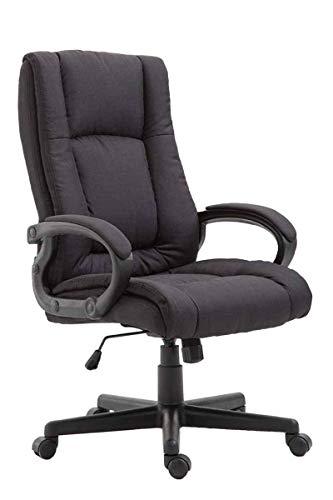 CLP Bürostuhl XL Sparta mit Stoffbezug | Drehbarer Chefsessel mit Wippmechanismus | Drehstuhl mit Armlehnen l Max. Belastbarkeit 140 kg, Farbe:schwarz