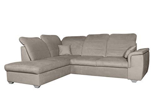Ecksofa 261 x 203 grau beige anthrazit blau Blue Sofa mit Schlaffunktion L Form Couch Big Sofa XXL modern Wellenfedern Sofa für 4 Sitzer und mehr verstellbare Kopfteile (linksseitig, Cappuccino)