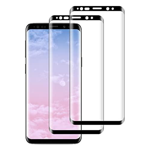 FayTun Protector de Pantalla para Samsung Galaxy S8, Vidrio Templado, 3D Curvado Completa Cobertura, Alta Definicion, 9H Dureza, Antiarañazos, Antihuellas, Sin Burbujas, 2 Piezas