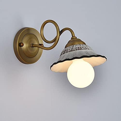 Lámpara de Pared E27 Retro Cerámica Aplique de Pared Lámpara de Metal de Color Latón Cuerpo Lámpara de Noche de Hierro...