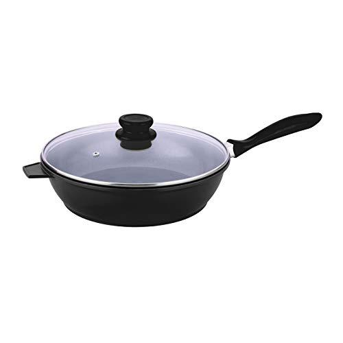Pro Cuisine antiadhésif Poêle à frire en céramique anti-adhésive 28 cm Sauteuse avec couvercle en noir - noir