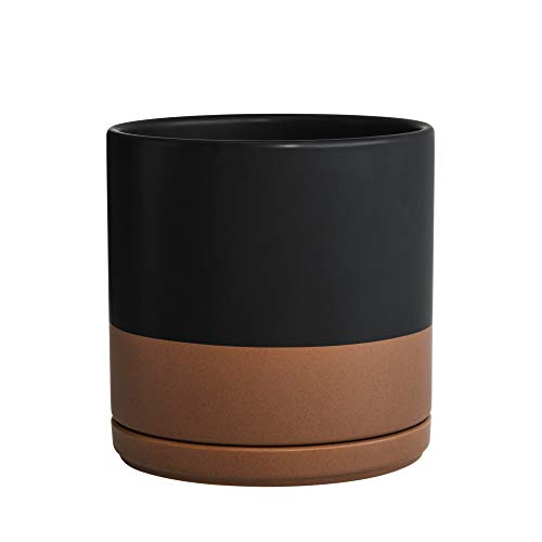 Ceramic Planter Pot With Drainage Hole And Saucer, Indoor Cylinder Round Planter Pot, 8 Inch, Black/Speckled Tan, 94-O-M-7