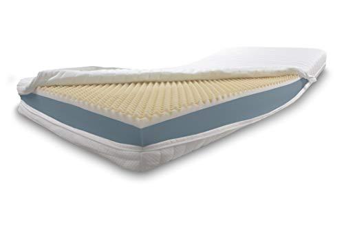 Dibapur Visco Plus H2: colchón ortopédico viscoelástico + colchón de espuma fría (peso volumétrico) selección x aprox. 16 cm núcleo con funda estándar acolchada aprox. 16,2 cm. Fabricado en Alemania.