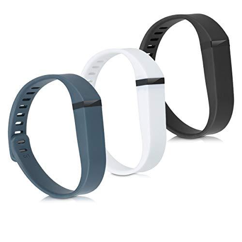 kwmobile Armband kompatibel mit Fitbit Flex - 3X Silikon Fitnesstracker Sportarmband