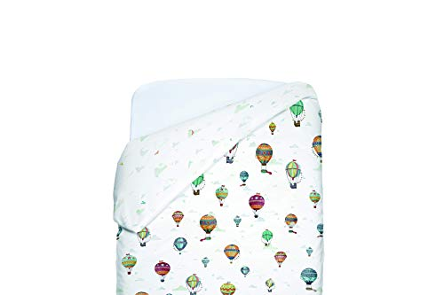 Petit Lazzari Balloons - Funda nórdica reversible para maxi cuna, 70 x 140 cm, color verde agua